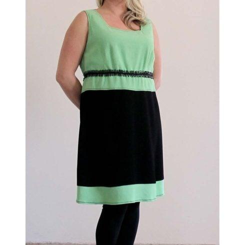 Scamiciato di crêpe di lana nero-verde