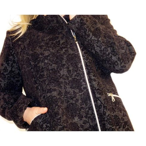 Giaccone in lana cotta tessuto stampato ricamato
