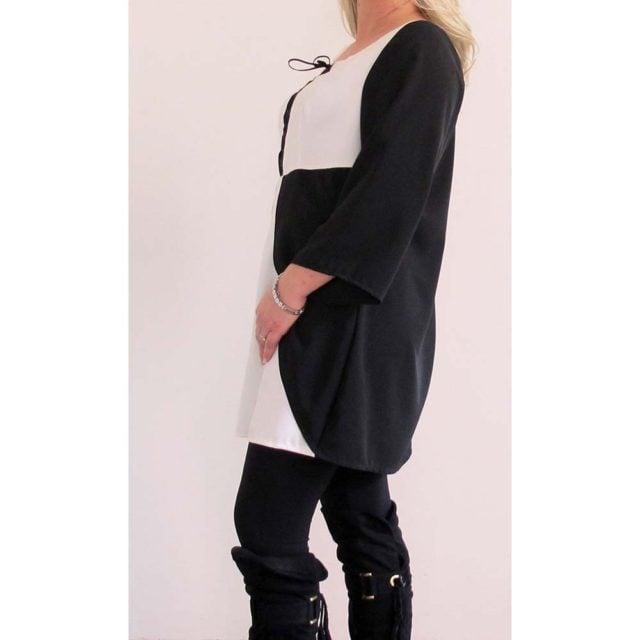 Camicia bianco-nera con lacci