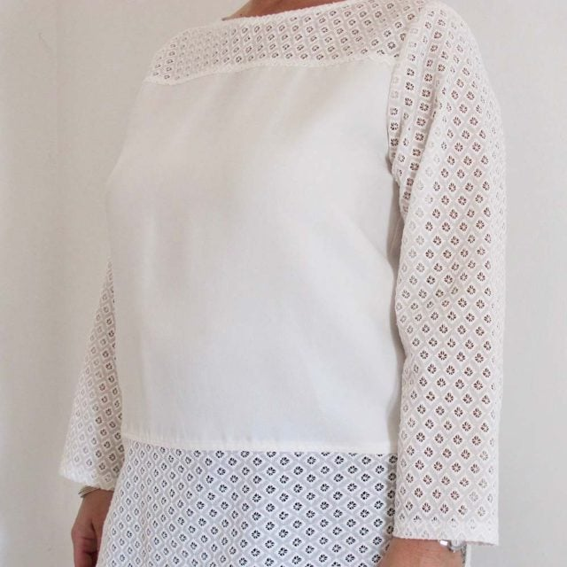 Art. 6871 - Camicia con inserti in sangallo